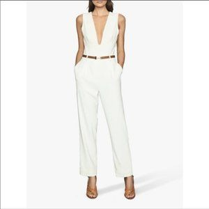 Reiss Lina Plunge Tapered Jumpsuit, Size 10, NWT